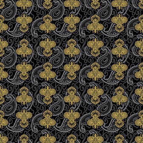 Ks Dixon Black Fabric 194 169 2011 fleur de paisley black and gold fabric glimmericks spoonflower