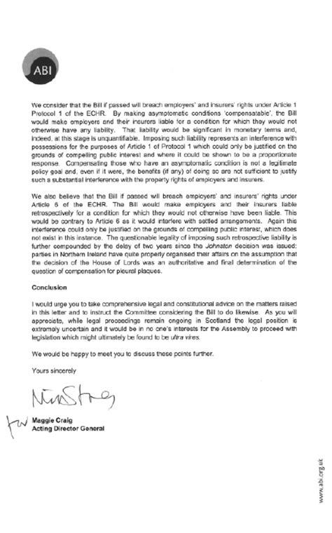 Report Damage Letter welcome to the northern ireland assembly finance report on the damages asbestos relared