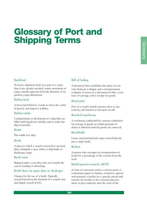Scope Of Mba In Port And Shipping Management by Glossary Of Port And Shipping Terms