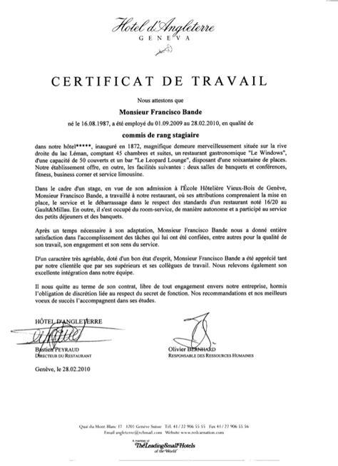 Certificat De Travail H 244 Tel D Angleterre 232 Ve 2009 2010