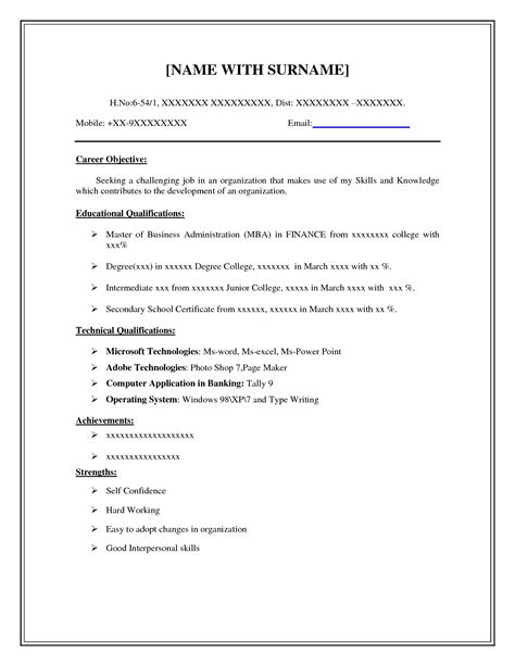 Resume Cover: Free Blank Resume Outline Download Free