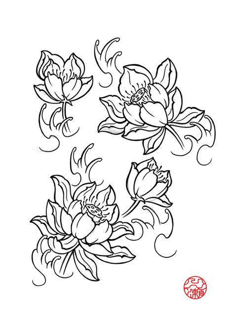 flower tattoo flash black lotus flower flash by itinoshe kenji