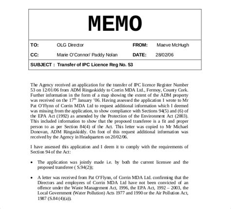 memo sle template memo templates 15 free word pdf documents