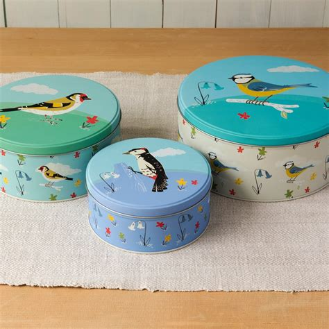 set of 3 novelty christmas cake tins set of 3 garden birds cake tins rex dotcomgiftshop