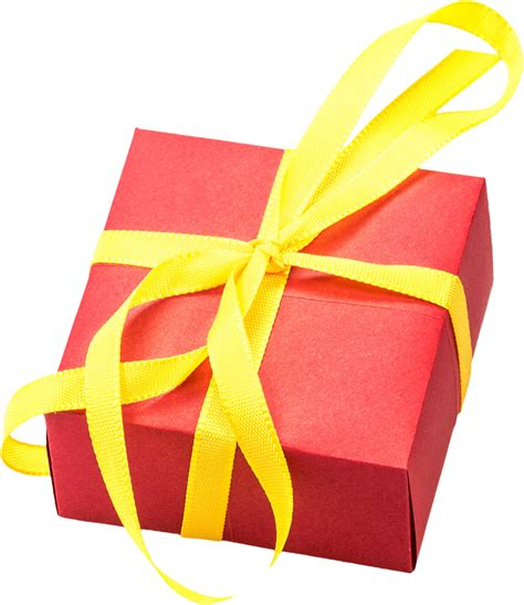 Free red little gift box and yellow ribbon png image