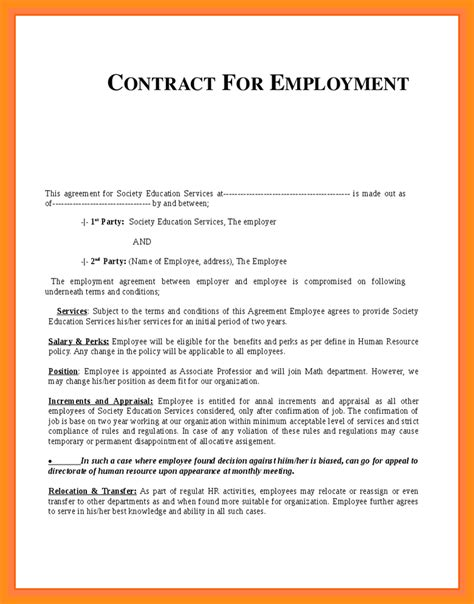 Resume Format For Contract Work 12 Employee Contract Sle Musician Resume