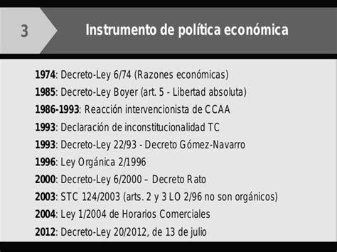 decreto ley 32012 de 24 de julio por el que se modifica barcelona2014 horarios comerciales y zonas de gran