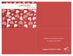 Free Valentines Card Templates by Valentines Day Card Quarter Fold