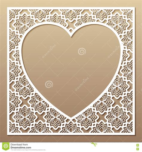 Openwork Square Frame With Heart Laser Cutting Template For Gre Stock Vector Illustration Of Laser Cut Photo Frame Template