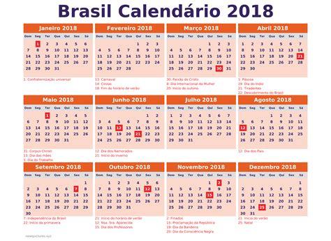 calendario 2018 brasil con feriados para imprimir