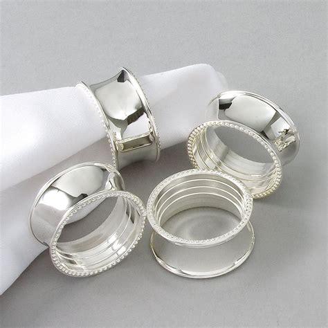 napkin rings elegance beaded napkin rings silver plated set of 4