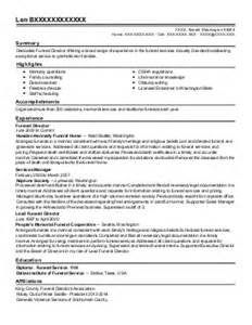 Funeral Director Resume by 241 Funeral Services Resume Exles Sles Livecareer