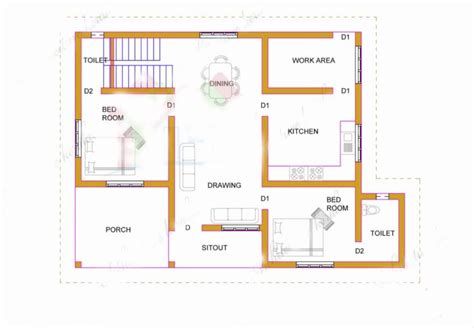 normal house with two bedrooms and 62 square meters
