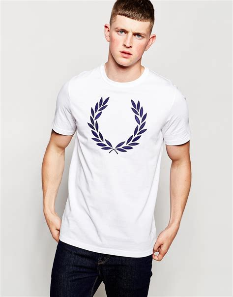Fred Perry T Shirt fred perry t shirt with laurel wreath logo white in white