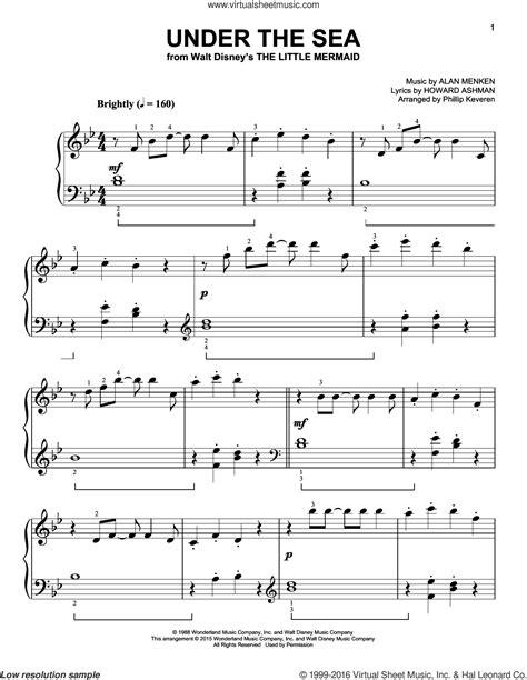 piano tutorial under the sea menken under the sea sheet music for piano solo