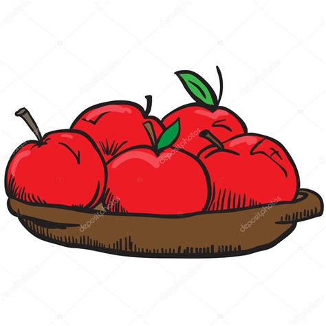 imagenes de manzanas rojas animadas apples in a bowl cartoon illustration stock vector