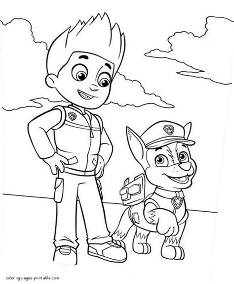 ryder paw patrol coloring pages sketch coloring page