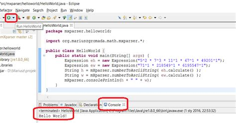 java tutorial hello world eclipse mxparser hello world java mxparser math