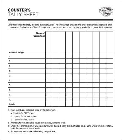 docs voting template tally sheet template 9 free word pdf documents