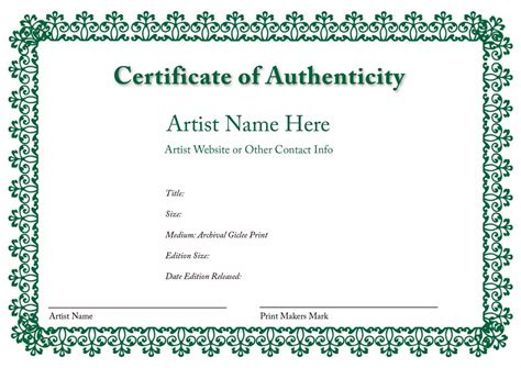 certificate of authenticity template word certificate authenticity template microsoft word
