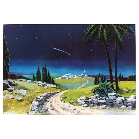 pavimento presepe fondale presepe legno stella cometa 100x68cm vendita