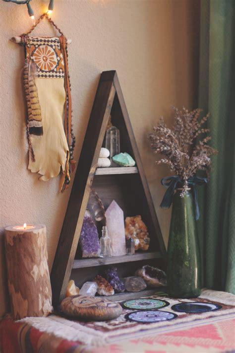 meditation home decor copper moon shelf plants crystals and stone