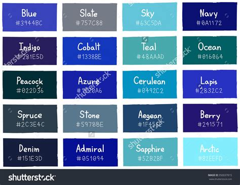 shades of blue chart blue color charts with names pictures to pin on pinterest
