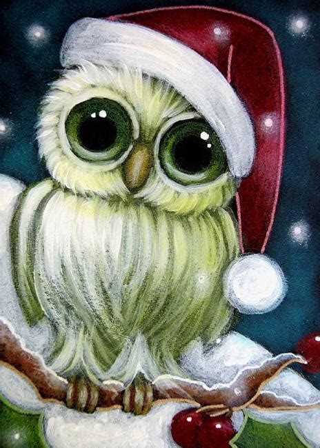 images of christmas owls holiday tiny green owl with santa hat by cyra r cancel from