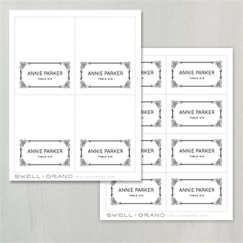 free template for printable foldable name cards printable place card template instant classic