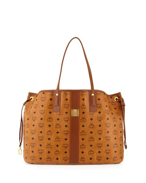 mcm liz reversible large visetos tote bag in brown cognac