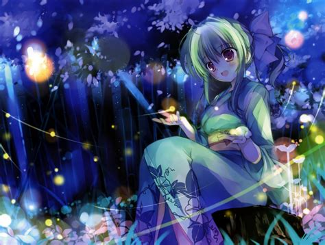 anime girl with fireflies wallpaper anime girl fireflies yukata smiling forest