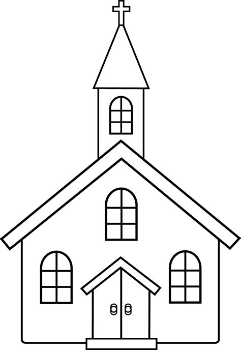 little church line art free clip art