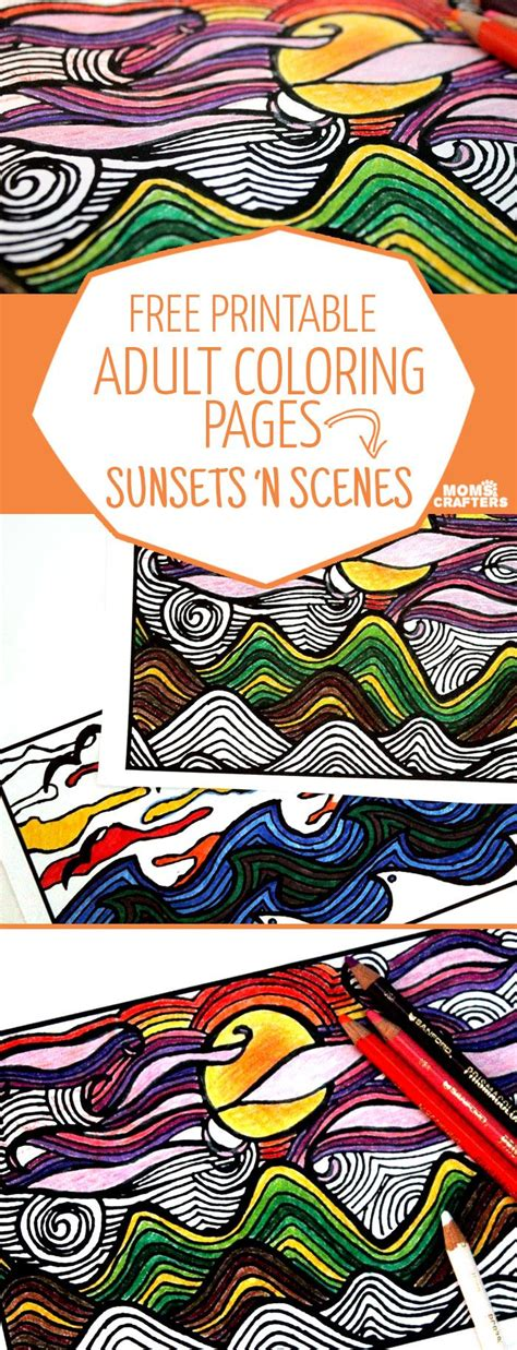 printable coloring pages  adults sunsets