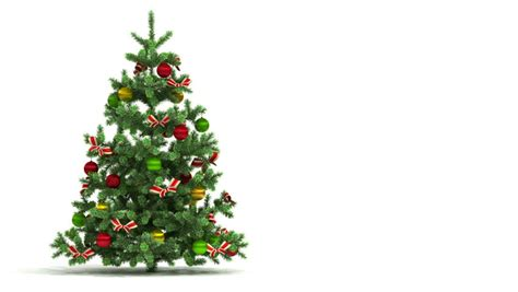 christmas tree with gift on white background stock footage