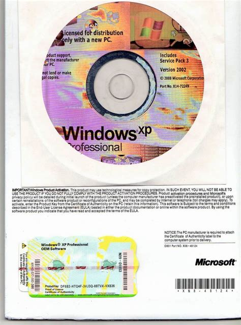 Software Windows Xp Sp3 Original Oem Box Complete Valid Seapa Original windows xp pro sp2 with coa computer software windows xp