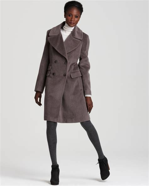 Coat Premium lyst calvin klein premium breasted boyfriend coat in gray
