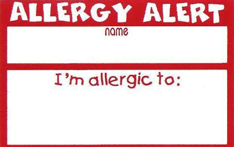 allergy alert card template e letter