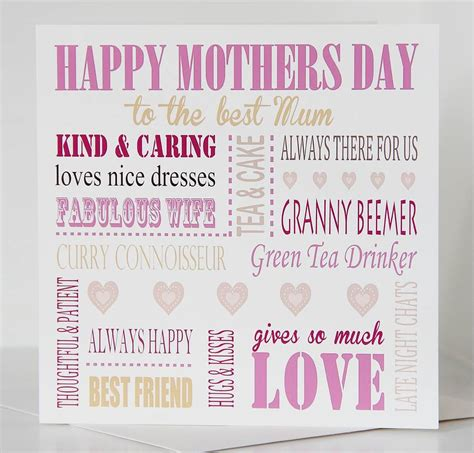 best mothers day cards personalised mothers day card by lisa marie designs