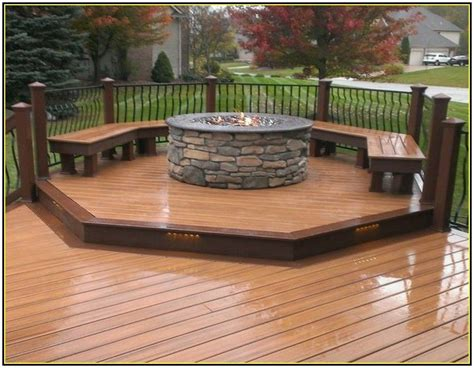 backyard wood deck ideas gas fire pit on wood deck outdoor decking decor