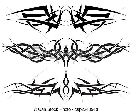 vector of tattoos set patterns of tribal tattoo for