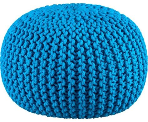 blue knitted pouffe knitted pool pouf blue modern floor pillows and poufs
