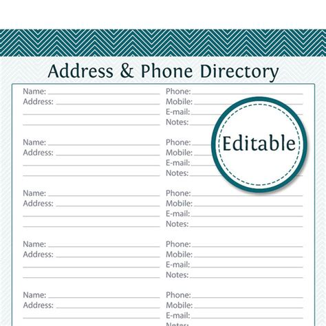 address phone directory fillable printable pdf