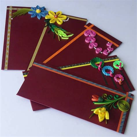 Handmade Paper Envelopes Designs - beautiful quilling decorative envelopes set of 5