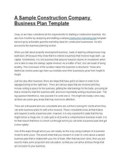 Construction Business Plan Template Free Download Pictures Of Photo Albums Construction Business Free Gallery Business Plan Template