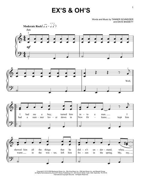 ex s oh s ex s oh s sheet music by elle king easy piano 164186