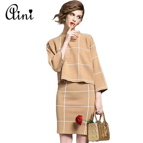 Fashion Blouse Set winter knitted set skirt and knit blouses set