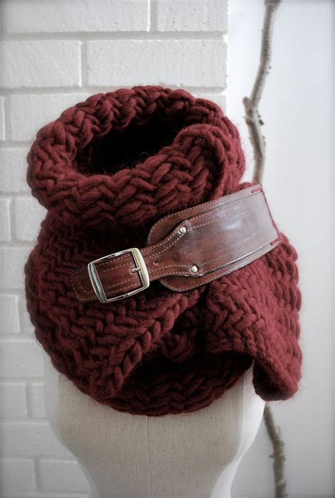 scarf buckle burgundy herringbone chunky knit scarf with leather buckle