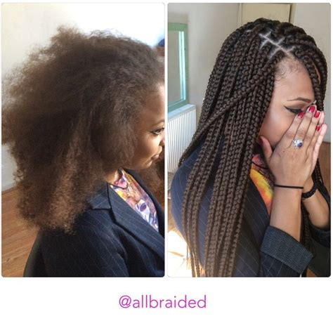 Xpressions Braiding Hair Box Braids 30 | medium sized box braid on a curly natural hair hair used