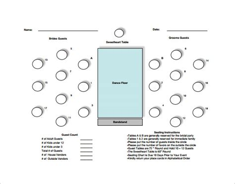 table seating chart template 14 free sle exle