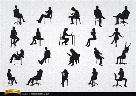 silhouette persone sedute sitting in chairs silhouettes vector
